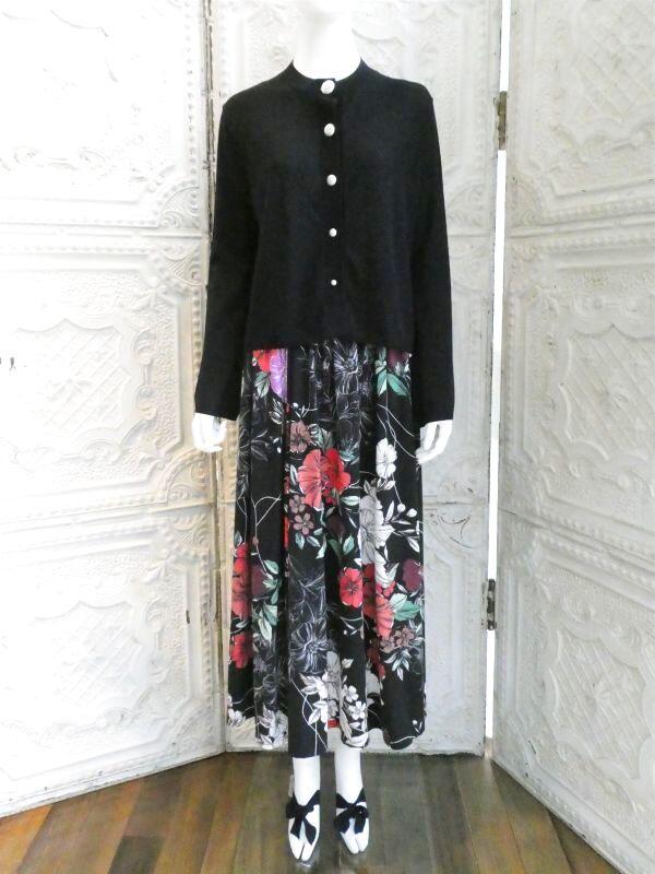 画像1: ニットブーケプリント スカート (1)